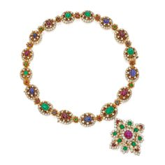 18 Karat Gold, Diamond and Gem-Set Necklace-Bracelet Combination and Pendant-Brooch, Van Cleef & Arpels  The necklace-bracelet combination set cabochon rubies, emeralds and sapphires, within diamond-set frames and spaced by stylized florets, the round diamonds weighing approximately 32.15 carats, length 20 inches, with two removeable sections measuring 3½ and 2½ inches for variety of wear, separates into two bracelets measuring 7¼ and 6¾ inches, signed Van Cleef & Arpels, numbered N.Y…