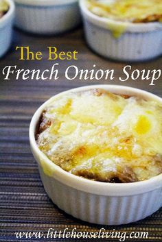 The Best French Onion Soup Recipe. Warm and delicious....perfect soup for cold winter days!  I used store bought croutons, which was a mistake.  The soup though was pretty good.
