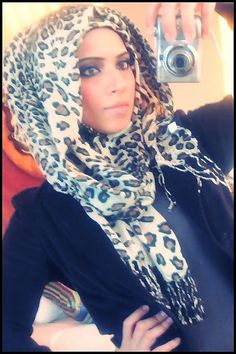 Cheetah print hijab. <3 Can never have too many!