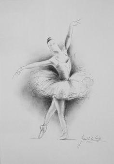 HANDMADE pencil drawing 12 x 8 on WHITE paper of BALLERINA by Ewa Gawlik.