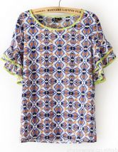 Blue Ruffles Short Sleeve Geometric Print Blouse 0.00