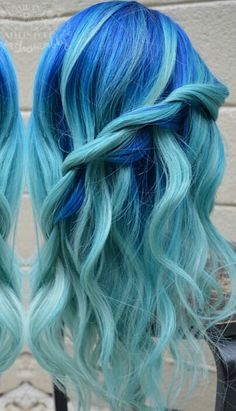 Royal blue turquoise ice blue dyed hair color