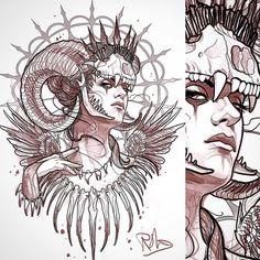 """New """"tooth fairy"""" design up for grabs #tattoo #tattoos #tattoodesign #tattooart #tattooartwork #tattooist #tattooing #tattooer #tattooed #tattooworkers #art #design #drawing #sketch #illustration #queen #dark #teeth #bones #skull #skulltattoo #woman #lady #newtraditional #neotrad #neotradsub #neotraditional #uk #uktta #uktattoo"""