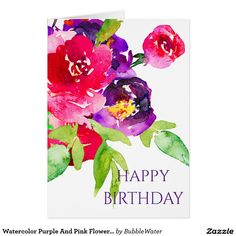 Watercolor Purple And Pink Flowers Bouquet Card