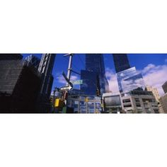 Low angle view of skyscrapers in a city Columbus Circle Manhattan New York City New York State USA Canvas Art - Panoramic Images (36 x 13)