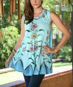 So pretty and looks Super Comfy when pic is enlarged. Click and see! #zulilyfind! Blue Floral Brushstroke Sleeveless Tunic #zulilyfinds