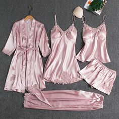5PC Bridal Sleepwear Set Female Satin Pajamas ❤️ Pin it please on your board