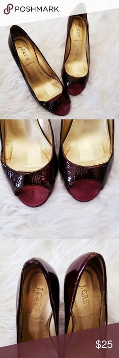 "J. Crew Burgundy Patent Leather Peep Toe Heels Burgundy patent leather. Gold color insoles. Made in Italy. Bottoms have anti slip patches. No major scuffs on the leather. These shoes have a bit of wear on the inside. Some cracking and scratches. 3"" heels. Women's Size 6 1/2. J. Crew Shoes"