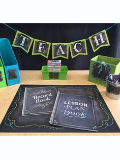 Start your year off right with all the essentials for your classroom.  Organize your work space with coordinating desk accessories labeled with the Chalk it up! accents and labels.   Must have staples for the year include the Chalk It Up! Lesson Plan Book & Record Book.  You can stick with a Lime Green and Turquoise color combination, or come up with your own! French Classroom, Classroom Setup, Classroom Design, Science Classroom, Future Classroom, Classroom Displays, Creative Teaching Press, Teaching Tools, Teaching Themes