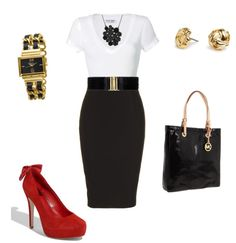 :) love the white tee and black pencil skirt :)