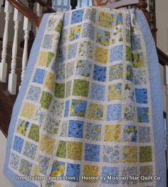 blue and yellow quilt made with a few Summer Breeze charm packs by Sentimental Studios for Moda Fabrics