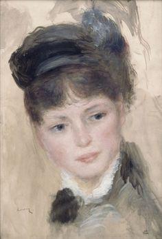 Pierre-Auguste Renoir - Young Woman in a Black Hat Pierre Auguste Renoir, Fine Art, French Art, Renoir Art, Art, Impressionism Art, Portrait Painting, Manet, Portrait Art