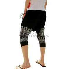 Mens+Fashion+Loose+Cotton+Blend+Harem+Pants+Skull+Head+printed+Black