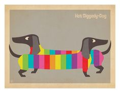 """""""Mod Rainbow Dogs"""" - Dog posters and prints available at Barewalls.com"""
