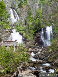The waterfalls at Anna Ruby Falls are formed as two creeks tumble over a large, towering cliff near Helen, Georgia