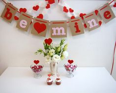 Ideas, Valentine's Day Decoration Be Mine Love Red Heart Glass Flower Vase Sweet Candy White Square Table Chocolate Cake: Gorgeous Valentines Decoration Ideas for Your Fantastic House