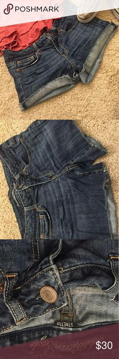 American Eagle Jean Shorts American Eagle Jean Shorts Great condition Ruffles on the bottom but can also fold up once for a clean line American Eagle Outfitters Shorts Jean Shorts