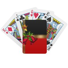 Merry Christmas Holiday Red Bells Black Gold Card Decks