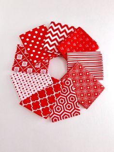 Red and white Bundle of 9 Fat Quarters 100% cotton by RomiWstudio