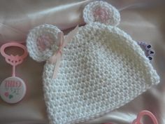 White Crocheted Mouse Hat/Cap with Pink Ears for Newborn to Three Month Old Baby Girl. $15.00, via Etsy.