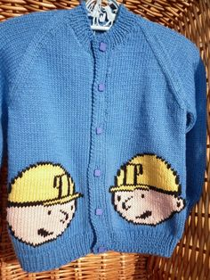 This boys' cardigan fits a 22 inch chest or a 1-2 year old.  It has Bob The Builder heads on the front and back and is ready to ship. by Marionsknittedtoys on Etsy