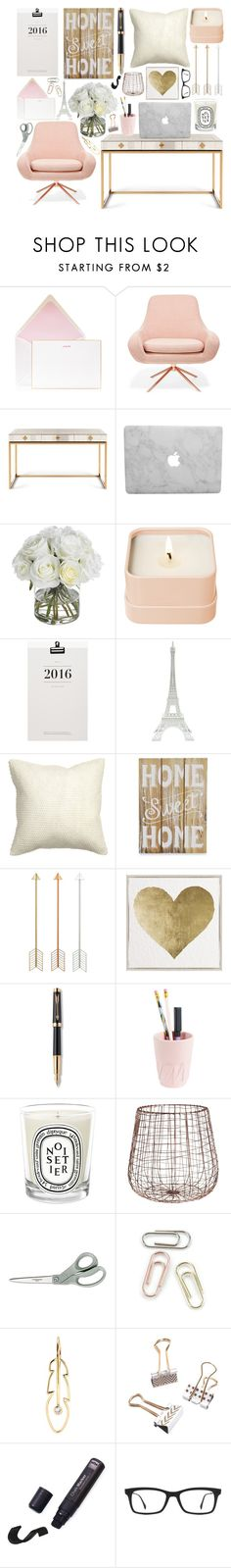 """Pink, White, and Metallics Home Office Inspiration"" by jessica-hearts ❤ liked on Polyvore featuring interior, interiors, interior design, home, home decor, interior decorating, Bell'Invito, Jonathan Adler, Diane James and Henri Bendel"