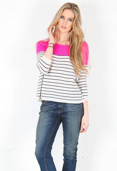 360SWEATER Ellie Sweater in Pink Combo $220