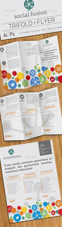 Social Fusion Trifold And Flyer - GraphicRiver Item for Sale