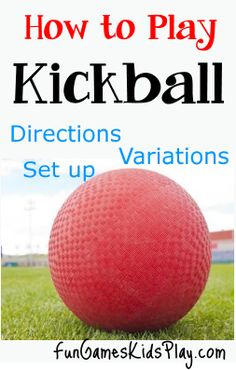 How to play the game of Kick ball with fun variations Standard The student will participate regularly in physical activity. (Psychomotor Domain) Standard The student will demonstrate competence in motor skills and movement patterns needed to perform Football Games To Play, Team Games For Kids, Physical Activities For Kids, Pe Activities, Rules For Kids, Youth Games, Gym Games, Games For Girls, Family Games