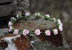 Secret garden fabulous romantic light baby pink fairy rose crown headband, head piece