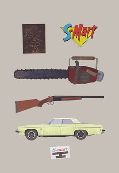 Inspired by the Evil Dead / Army of Darkness movies. Chainsaw, Boomstick, Ash S-Mart name tag, Sword, Necronomicon, The Classic Delta 88  Available