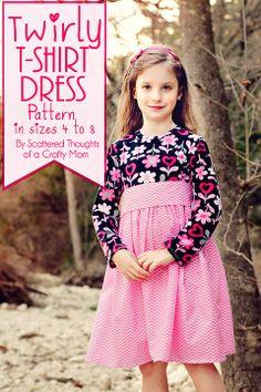 Girl's Twirly T-Shirt Dress Pattern and Tutorial (pattern sizes 4 to 8)