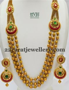 Jewellery Designs: Gold Soft Balls Long Chain by VBJ