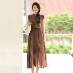 $17.85 Gamiss® Retro Style Sleeveless Solid Color High Quality Chiffon Shirt Maxi Dress For Women