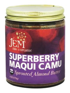 Jem Raw Organic - Organic Sprouted Almond Butter Superberry Maqui Camu - 6 oz.