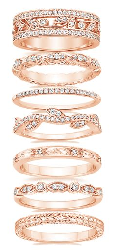 Rose gold wedding bands. I love all of these!