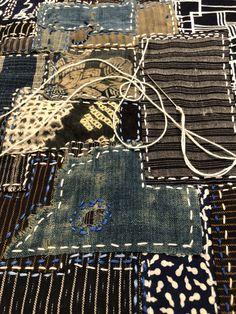 Boro stitching part 3 - Handarbeit Sashiko Embroidery, Japanese Embroidery, Embroidery Stitches, Hand Embroidery, Textile Texture, Textile Art, Boro Stitching, Visible Mending, Sewing Courses