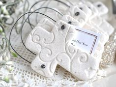 First Communion Favors Set of 10 Personalized Baptism Favors Imprinted Salt Dough Cross Ornaments or Napkin Ring Communion Favors Salt Dough Crafts, Salt Dough Ornaments, Clay Ornaments, Christmas Ornaments, Homemade Ornaments, Felt Christmas, Homemade Christmas, Christmas Decorations, Baptism Favors