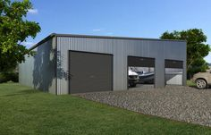 We're Specialists in Skillion Roof Garages and Can Supply Right Across Australia. Building A Garage, Garage Roof, Metal Building Homes, Building Facade, Garage Plans, Metal Homes, Shed Plans, Building Materials, Backyard Buildings