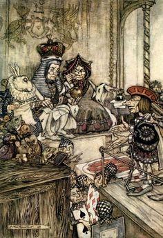 Alice's Adventures in Wonderland - Who stole the tarts? Illustration by Arthur Rackham