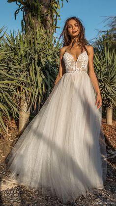 asaf dadush 2018 bridal sleeveless spaghetti strap deep sweetheart neckline heavily embellished bodice tulle skirt romantic soft a line wedding dress open low back sweep train (9) mv