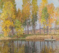 """""""Autumn Festival,"""" Willard Leroy Metcalf, 1915-1920, oil on canvas, 26-1/2 x 29"""", private collection."""