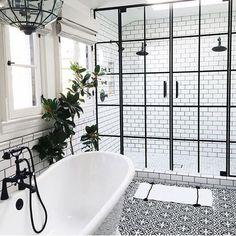 zen Bathroom Decor Monochrome bathroom with crittall style shower screen. Zen Bathroom, Bathroom Renos, Bathroom Renovations, Modern Bathroom, Small Bathroom, Beautiful Bathrooms, Minimal Bathroom, Bathroom Black, Bathroom Showers