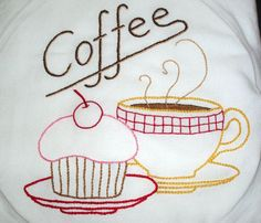 TEA FOR TWO - hand embroidered flour sack tea towel with vintage ...