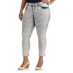1f9a8c0ba0773 Faded Glory - Faded Glory Women's Plus-Size Destructed Roll-Cuff Skinny  Jeans - Walmart.com