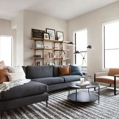 Nova Bard Gray Left Sectional Sofa Flipping through photos of the and getting so so excited because s Condo Living Room, Living Room Sectional, Living Room Grey, Modern Sectional, Charcoal Sofa Living Room, Dark Grey Sectional, Fabric Sectional, Danish Living Room, Dark Gray Sofa