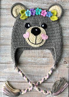 Crochet Pattern Only – Crochet Teddy Bear Hats for Girls and Boys – Children's Teddy Crochet Hat – Infant Teddy Crochet Hat - Babykleidung Crochet Animal Hats, Crochet Hats For Boys, Crochet Baby Hats, Crochet Gifts, Crocheted Hats, Childrens Crochet Hats, Booties Crochet, Knitting Patterns, Crochet Patterns