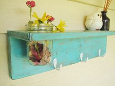 This is pretty cool! Rustic wood shelf, distressed shabby chic, Turquoise, cottage beach home decor,wall shelves.