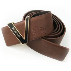 Versace Smooth Leather Polished Press Buckle Men'S Belt VB4448-607