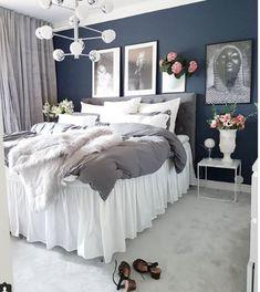 Cosy Bedroom, White Bedroom, Bedroom Inspo, Bedroom Colors, Bedroom Decor, Master Bedroom, Small Space Interior Design, Blue Rooms, Room Inspiration